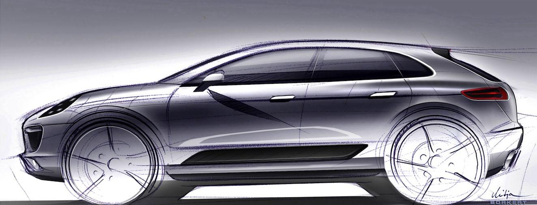 Officiële schets van de 2014 Porsche Macan