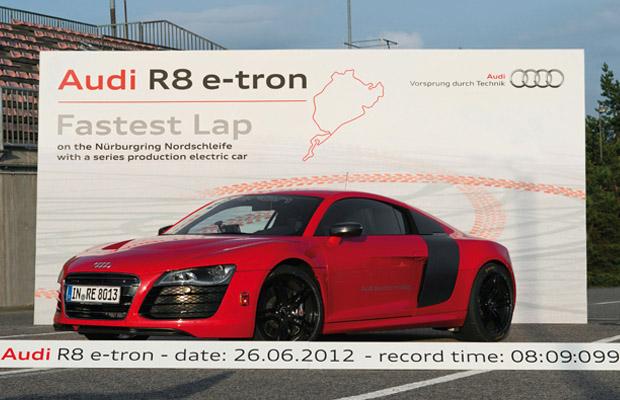 Audi R8 e-tron record lap Nurburgring 8min9sec099