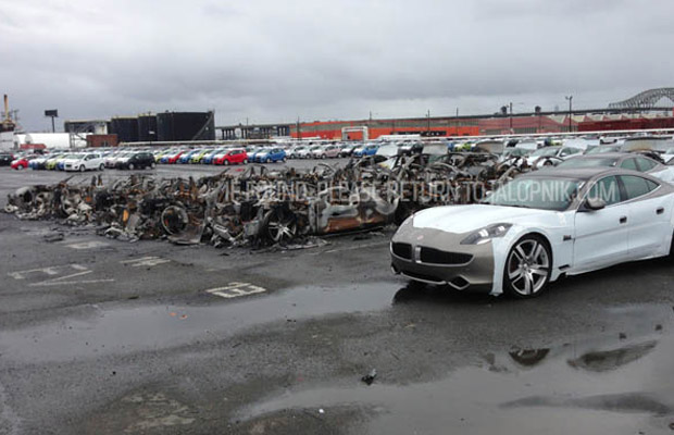 Fisker Karma Newark destroyed exploded Sandy 2012