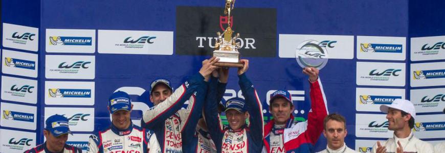 FIA WEC 6-hours of Silverstone Toyota TS040 winner podium