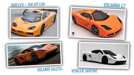 Een vergelijking tussen de DDR SP4, Vollara GT, Vollari en Vencer Sarthe (afbeelding copyright Jalopnik)