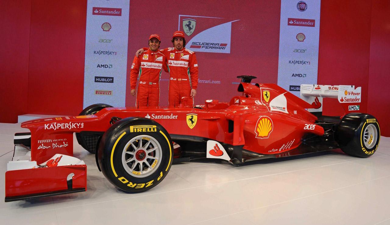 Ferrari F1 2012 presentatie met Fernando Alonso en Felippe Massa