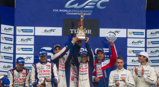 FIA WEC 6-hours of Silverstone Toyota TS040 winner podium