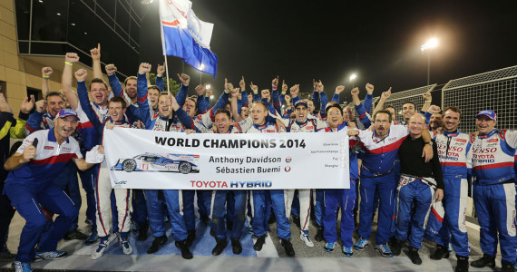 Toyota TS040 Hybrid FIA WEC World Endurance Championship Champion Buemi Davidson Bahrain 2014
